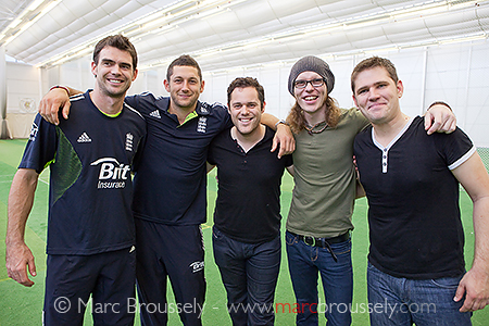 Scouting For Girls for a nets game at Lord's with Tim Bresnan and James Anderson on Sept. 23 2010